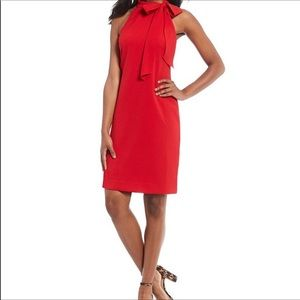 Vince Camuto Bow Neck Crepe Halter Red Dress NWT 6